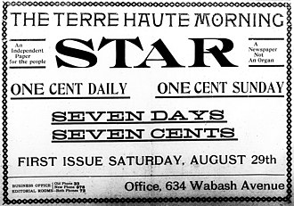 Tribune-Star - Advertisement for the launch of the Terre Haute Morning Star, Aug. 28, 1903.