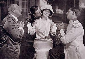 Arthur Playfair - Arthur Playfair, Robert Averell, Yvonne Arnaud and Alec Fraser in the original production of The Girl in the Taxi (1912)