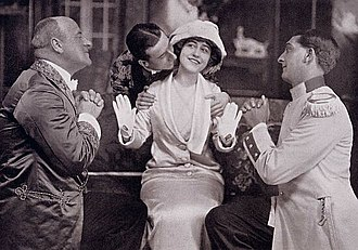 The Girl in the Taxi - Arthur Playfair, Robert Averell, Yvonne Arnaud and Alec Fraser in the original production, 1912.