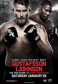 A poster or logo for UFC on Fox: Gustafsson vs. Johnson.