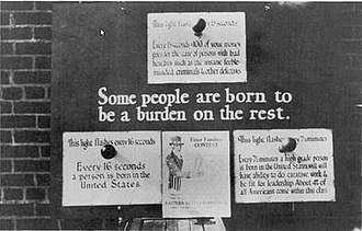 "Eugenics in the United States - U.S. eugenics poster advocating for the removal of genetic ""defectives"" such as the insane, ""feeble-minded"" and criminals, and supporting the selective breeding of ""high-grade"" individuals, c. 1926"