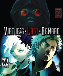 The game's cover art, featuring two stylized characters: Phi and Sigma, both seen from the shoulders and up and looking off to the side. Above them, a hooded figure wearing a gas mask is shown, facing the viewer. The game's logo, vertically centered between the hooded figure and Phi and Sigma, shows the words