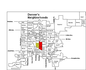 Washington Park, Denver - The Washington Park neighborhoods highlighted on this map of Denver.