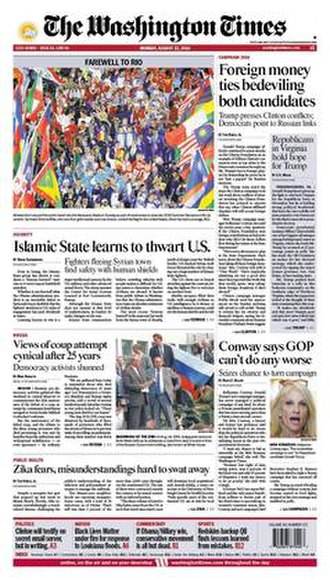 The Washington Times - Front page for August 22, 2016