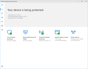 Security and Maintenance - Windows Defender Security Center