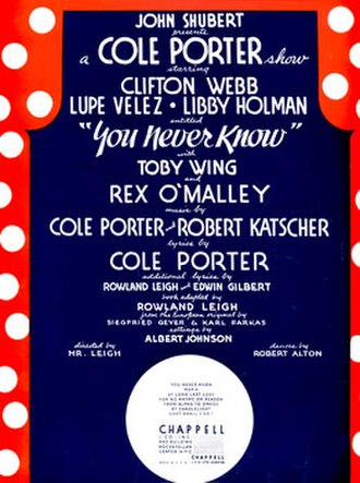 You Never Know (musical) - Sheet music cover (cropped)