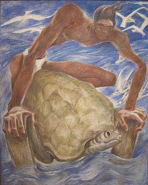 Juliette May Fraser - 'Kana Wrestling the Turtle' by Juliette May Fraser, fresco on canec (a sugar-cane fiber-base insulation board manufactured by Hawaiian Cane Products, Inc.), 1954, Hawaii State Art Museum
