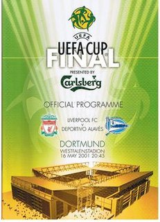 2001 UEFA Cup Final Football match between Liverpool and Alavés