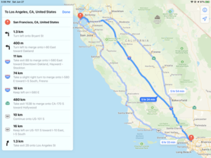 Apple Maps - Apple Maps giving directions from San Francisco to Los Angeles, as shown on an iPad running iOS 9.