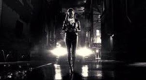 Sin City (film) - Becky (Alexis Bledel) walking down a street. An example of the film's neo-noir atmosphere.