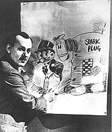 Photograph of Billy DeBeck drawing a picture of Barney Google and Spark Plug