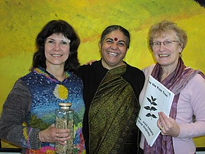 International Federation of Organic Agriculture Movements (IFOAM) - Organics International - Linda Bullard, former President of IFOAM - Organics International), Dr. Vandana Shiva, winner of the Right Livelihood Award, and Magda Aelvoet, Belgian Minister of State and former Health and Environment Minister, celebrate the landmark decision of the European Patent Office to uphold a decision to revoke in its entirety a patent on a fungicidal product derived from seeds of the Neem, a tree indigenous to the Indian subcontinent.