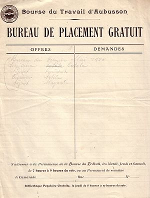 Bourse du Travail - Sign in sheet at the Aubusson Bourse, c. 1920.