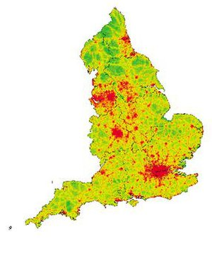 Tranquillity - 2007 Tranquillity map of England. Green areas denote very tranquil areas, whereas red areas denote areas with much less tranquillity.