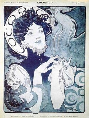 Cocorico (magazine) - First cover of Cocorico by artist Alphonse Mucha in 1898.