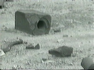 RBMK - The largest of these lumps of graphite moderator ejected during the Chernobyl disaster shows an intact control rod channel.