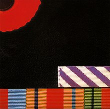 of British military service medal ribbons along the bottom edge