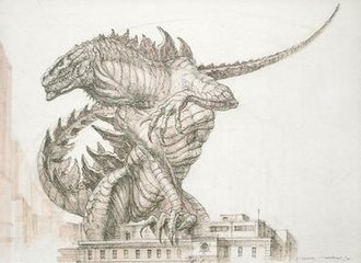 Godzilla (1998 film) - Tatopoulos showed this concept drawing (his personal favorite) to Emmerich and Devlin at Cannes 1996 which convinced them to move forward with the project.