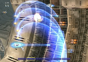 Gradius V - The player is confronted by several enemies and uses the multiple control mechanic to direct the ship's weapons.