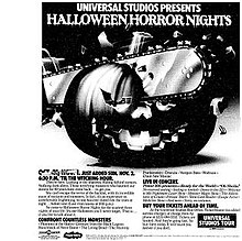 print ad for universals first halloween effort at universal studios hollywood in 1986
