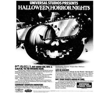 Halloween Horror Nights - Print ad for Universal's first Halloween effort, at Universal Studios Hollywood in 1986