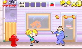 Hey Arnold!: The Movie (video game) - Arnold prepares to throw tomatoes at one of Scheck's henchmen.