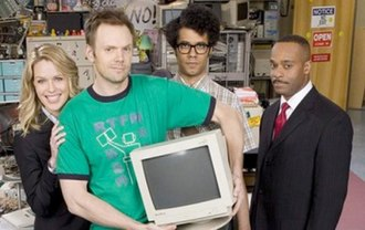 The IT Crowd - The main cast of the American version (left to right) Jen, Roy, Moss and Denholm