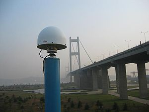 Deformation monitoring - GNSS reference station antenna for structural monitoring of the Jiangying Bridge