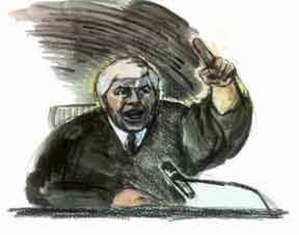 Ted Binion - Judge Joseph Bonaventure, by courtroom artist Paulette Frankl.