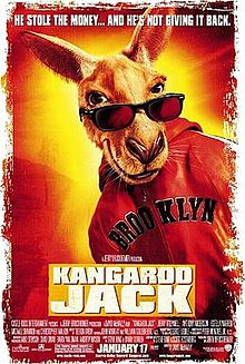 A kangaroo wearing sunglasses and read Brooklyn jacket