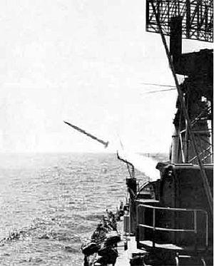 Italian cruiser Giuseppe Garibaldi (1936) - Launch of a Terrier missile.