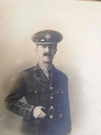 Benton Fletcher - Benton Fletcher in the uniform of a Major in the Sherwood Foresters (Nottingham and Derbyshire Regiment). His cap badge is that of the Sherwood Foresters and his sleeve markings are those of a British Army Major. He became a Major in 1905, the probable date of this photograph. Courtesy of the National Trust