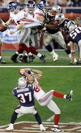 Helmet Catch - Eli Manning (top) breaks away from several defenders to make the 32-yard pass to David Tyree (bottom) over Rodney Harrison.