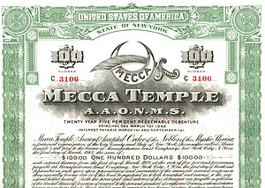 New York City Center - A bond issued in 1922 to raise funds for the construction of the Mecca Temple