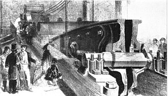 Hartley Colliery disaster - Drawing of the fractured cast iron beam, from the Illustrated London News, 1 February 1862