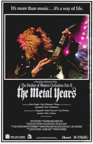 The Decline of Western Civilization Part II: The Metal Years - Dave Mustaine of Megadeth is featured on the movie poster.