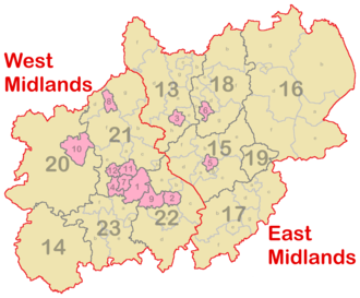 The Midlands - The two statistical regions of West and East Midlands.