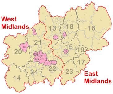 Midlands England Map