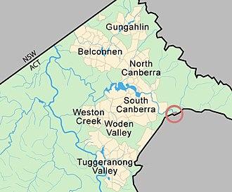 Oaks Estate, Australian Capital Territory - Image: Oaks Estate IB Map MJC