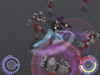 Oni (video game) - Konoko using a move effective on multiple enemies, the Devil Spin Kick.