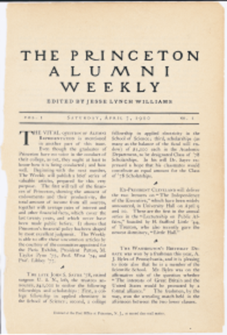 Princeton Alumni Weekly - Cover of the first issue (April 7, 1900)
