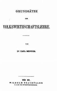 1871 book by Carl Menger