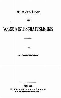 <i>Principles of Economics</i> (Menger) book by Carl Menger