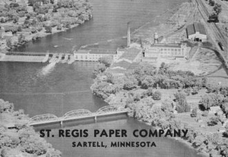 Sartell, Minnesota - Sartell's paper mill, as viewed from the air in 1946.