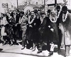 Rabbi - The 3rd Selma Civil Rights March, 1965. From far left (frontline): John Lewis; an unidentified nun; Ralph Abernathy; Martin Luther King, Jr.; Ralph Bunche; Rabbi Abraham Joshua Heschel; Frederick Douglas Reese. In the second row, Rabbi Maurice Davis is between Dr. Martin Luther King, Jr. and Ralph Bunche.