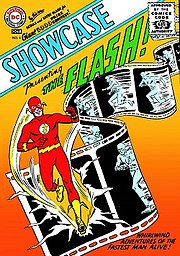 Showcase #4 (Oct. 1956) introduced the second Flash and the Silver Age. Cover art by Carmine Infantino & Joe Kubert.