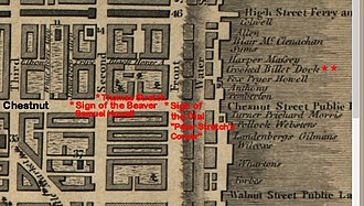 """Thomas Stretch - Location of the """"Sign of the Dial"""" at Front and Chestnut Streets, where Thomas Stretch apprenticed and plied his trade as a clockmaker, Peter Stretch's Corner, inherited in 1746 from his father.  Around 1747-8 Thomas sold his father's property and Front and Chestnut and consolidated the business a block further west, at his second property at the southwest corner of Second and Chestnut, one block east of son-in-law Samuel Howell's property, """"Sign of the Beaver"""", at the corner of Strawberry Alley and Chestnut.  Howell also owned the Crooked Billet Tavern and its dock.  Detail from """"Plan of the City of Philadelphia and its Environs (Showing the Improved Parts),"""" 1797."""