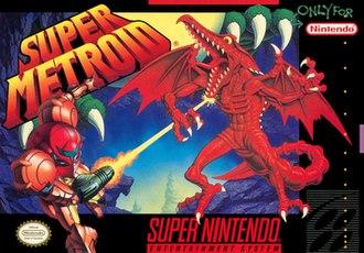 Super Metroid - North American box art featuring Samus Aran in battle with Ridley
