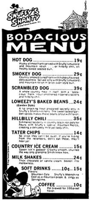 Barney Google and Snuffy Smith - Menu for planned Snuffy's Shanty hot dog shops