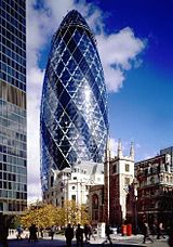 The Award Winning 30th St Mary's Axe (The Gherkin) in London is an example of modern environmental friendly skyscrapers